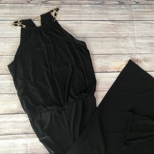 Laundry by Shell Segal Black Jumpsuit Gold Chains